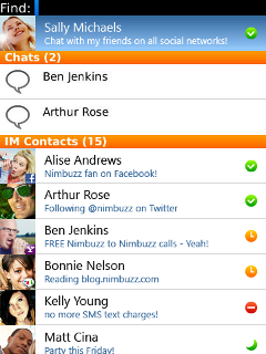Nimbuzz - Free chat (for BlackBerry OS 5)
