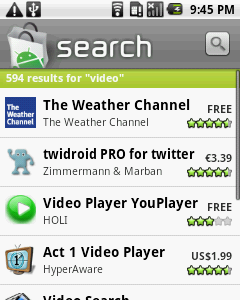 Android Market software