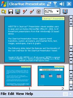 ClearVue Presentation Professional 3.0.543 для Pocket PC и WM - описание, с