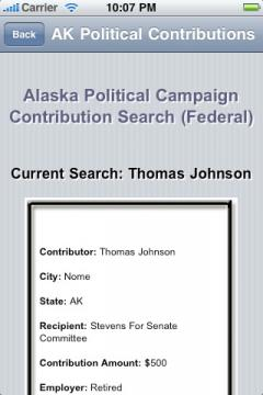 Alaska Political Campaign Contribution Search (Federal)