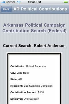 Arkansas Political Campaign Contribution Search (Federal)