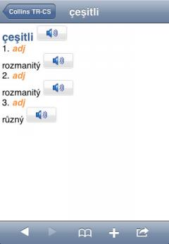 Audio Collins Mini Gem Czech-Turkish & Turkish-Czech Dictionary (iPhone/iPad)