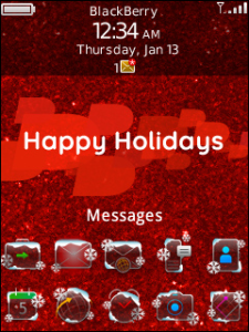 BlackBerry Exclusive Holiday Theme - Happy Holidays Red