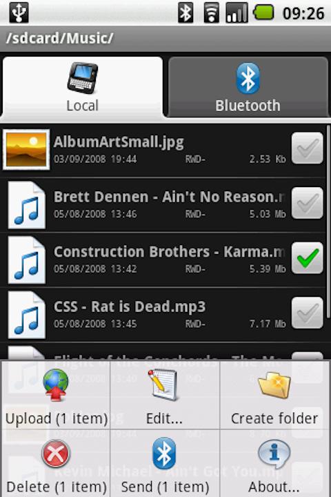Программа для передачи файлов по Bluetooth.  Работает используя OBEX FTP...