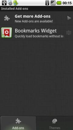 Bookmarks Widget Add-on for Dolphin Browser HD