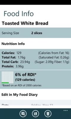 Calorie Counter by FatSecret for Windows Phone