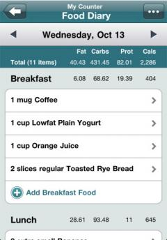 Calorie Counter by FatSecret for iPhone