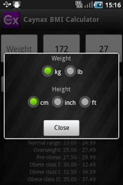 Caynax BMI Calculator