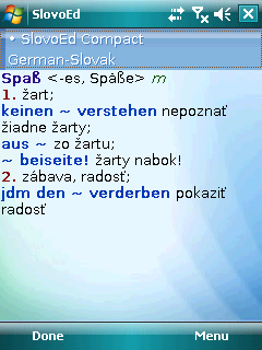 SlovoEd Compact German-Slovak & Slovak-German dictionary for Windows Mobile