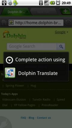 Translate Add-on for Dolphin Browser HD