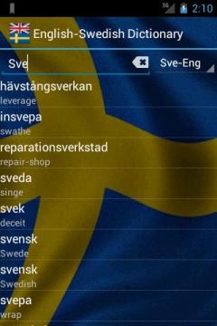English-Swedish Dictionary FREE