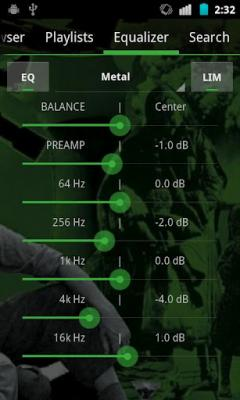 GoneMAD Music Player ICS Holo Green Skin