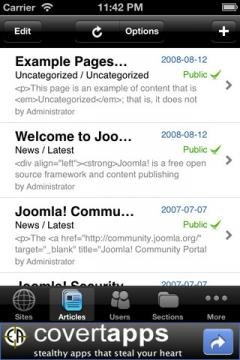 Joomla Admin Mobile! Lite for iPhone/iPad