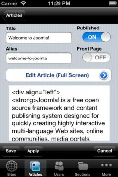 Joomla Admin Mobile! for iPhone/iPad