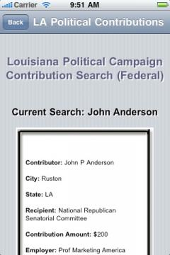 Louisiana Political Campaign Contribution Search (Federal)