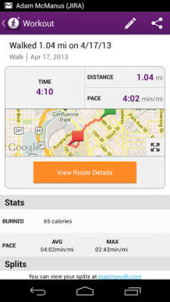MapMyWalk+ for Android