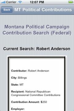 Montana Political Campaign Contribution Search (Federal)