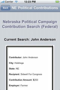 Nebraska Political Campaign Contribution Search (Federal)