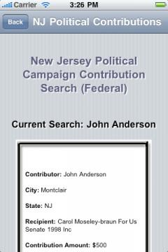 New Jersey Political Campaign Contribution Search (Federal)