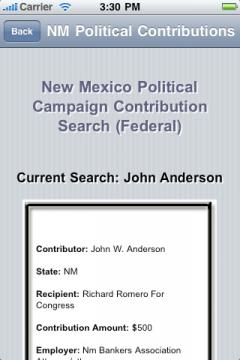 New Mexico Political Campaign Contribution Search (Federal)