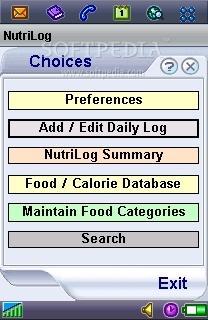 NutriLog for Symbian