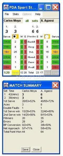 PDA Sport Stats - Tennis