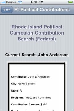 Rhode Island Political Campaign Contribution Search (Federal)