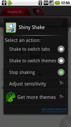 Shiny Shake Add-on for Dolphin Browser HD