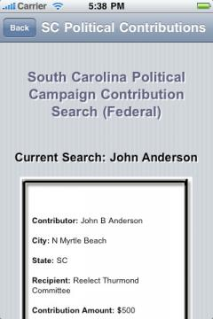 South Carolina Political Campaign Contribution Search (Federal)