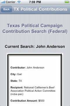 Texas Political Campaign Contribution Search (Federal)