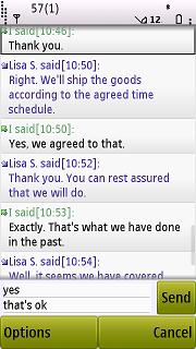 Symbian 9.2. Данная программа - инструмент для написания SMS в стиле чата