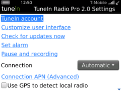 TuneIn Radio Pro for BlackBerry