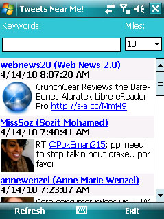 Tweets Near Me for Windows Mobile