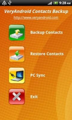 VeryAndroid Contacts Backup