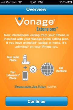 Vonage Extensions for iPhone