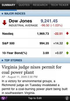 Yahoo! Finance for iPhone
