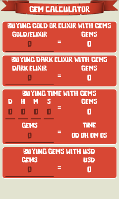 Gem Calculator for CoC
