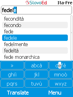 SlovoEd Classic French-Italian & Italian-French dictionary for mobiles
